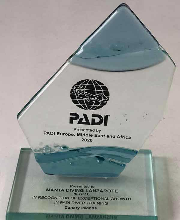PADI Award 2020 for Manta Diving Lanzarote