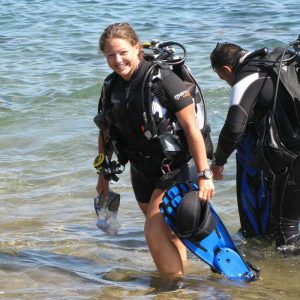 Rachel diving in Lanzarote. Coming out from a dive in Puerto Del Carmen