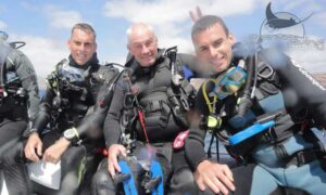 Ben diving with family in Lanzarote