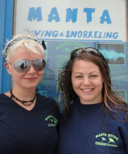 Rachel and Sarah after her PADI open water course in Lanzarote