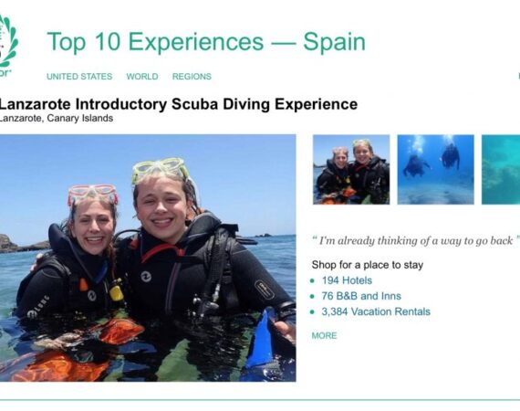 Manta Diving Lanzarote is awarded TripAdvisor 2019 Travelers' Choice Award for Introductory Scuba Diving Experience - Number 2 in Spain!