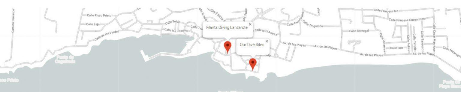 Manta Diving Lanzarote Map of new dive centre in Lanzarote